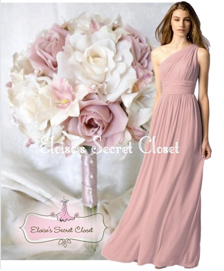 PAIGE Dusky Pink One Shoulder Chiffon Long Maxi Bridesmaid