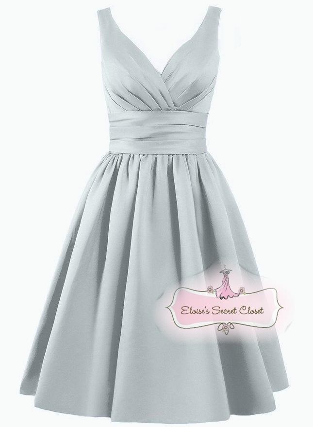 Bridget silver grey satin bridesmaid wedding knee length for Ebay wedding dresses size 18 uk