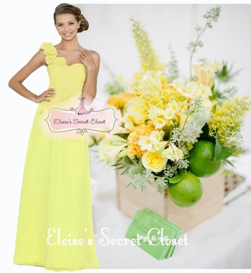 Asha lemon yellow various colours corsage chiffon bridesmaid asha lemon yellow various colours corsage chiffon bridesmaid dress uk 6 18 ebay ombrellifo Images