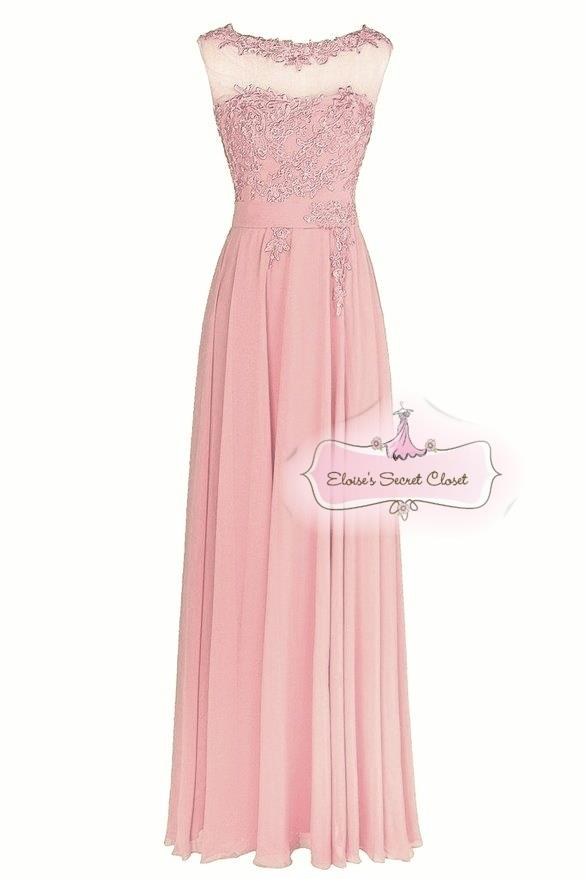 Beau dusky pink various colours lace chiffon bridesmaid for Ebay wedding dresses size 18 uk