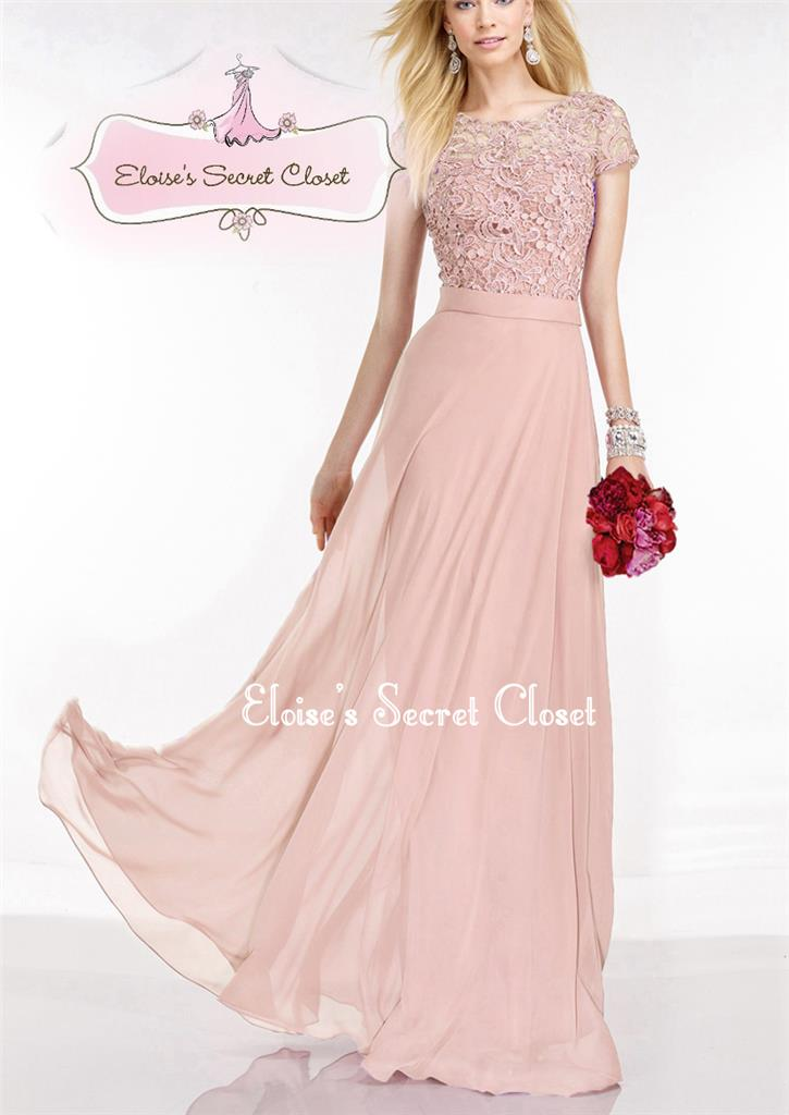Suzanna dusky pink lace chiffon prom bridesmaid ballgown for Dusky pink wedding dress