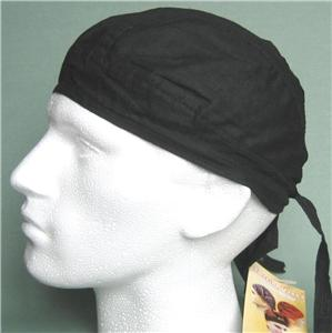 Black-Bandana-Zandanna-Do-Du-Rag-Durag-Skullcap-Hat-NEW