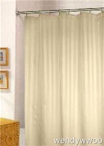 Beige Stripe Shower Curtain 180x180 Hooks White Brown EBay