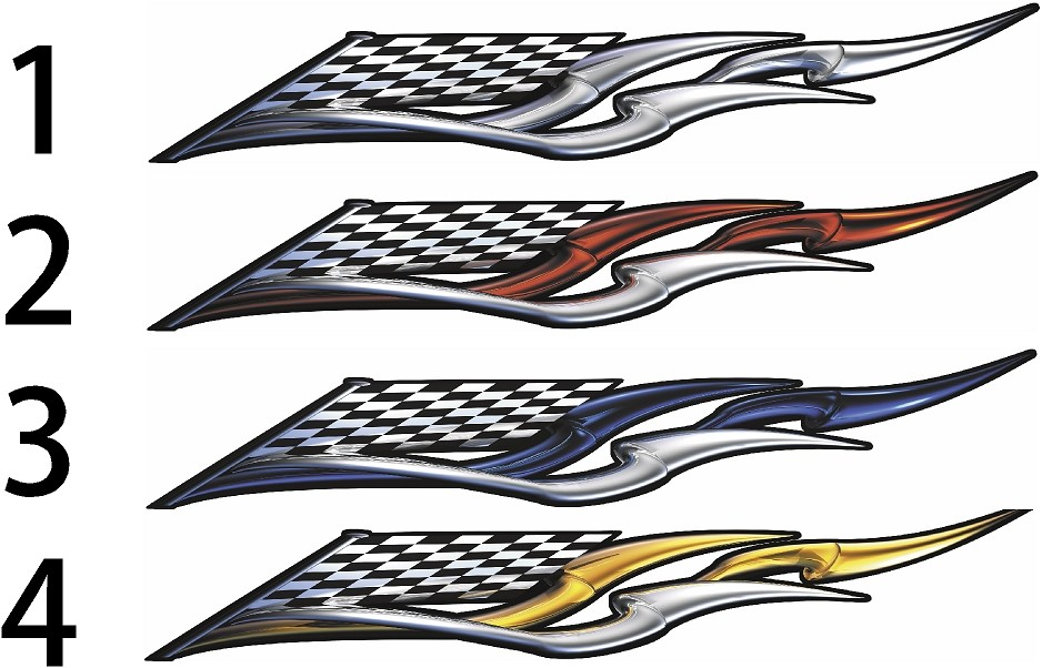 Checkered Flag Racing Wing Boat Decals Xtreme Digital
