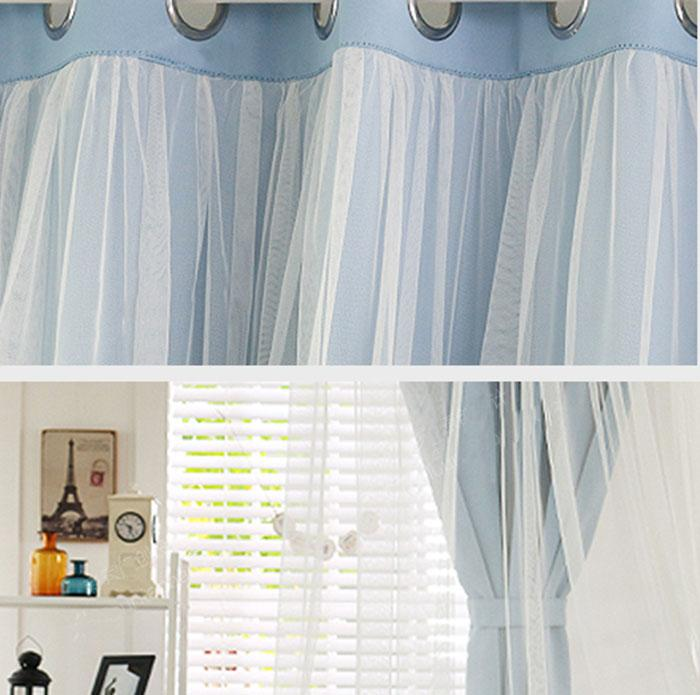 shabby chic romantik 1 paar sen gardine 280 x 240 cm traum blau stoffe ebay. Black Bedroom Furniture Sets. Home Design Ideas
