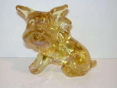 Imperial Sunshine Yellow Carnival Glass Parlor Pup Bulldog '83