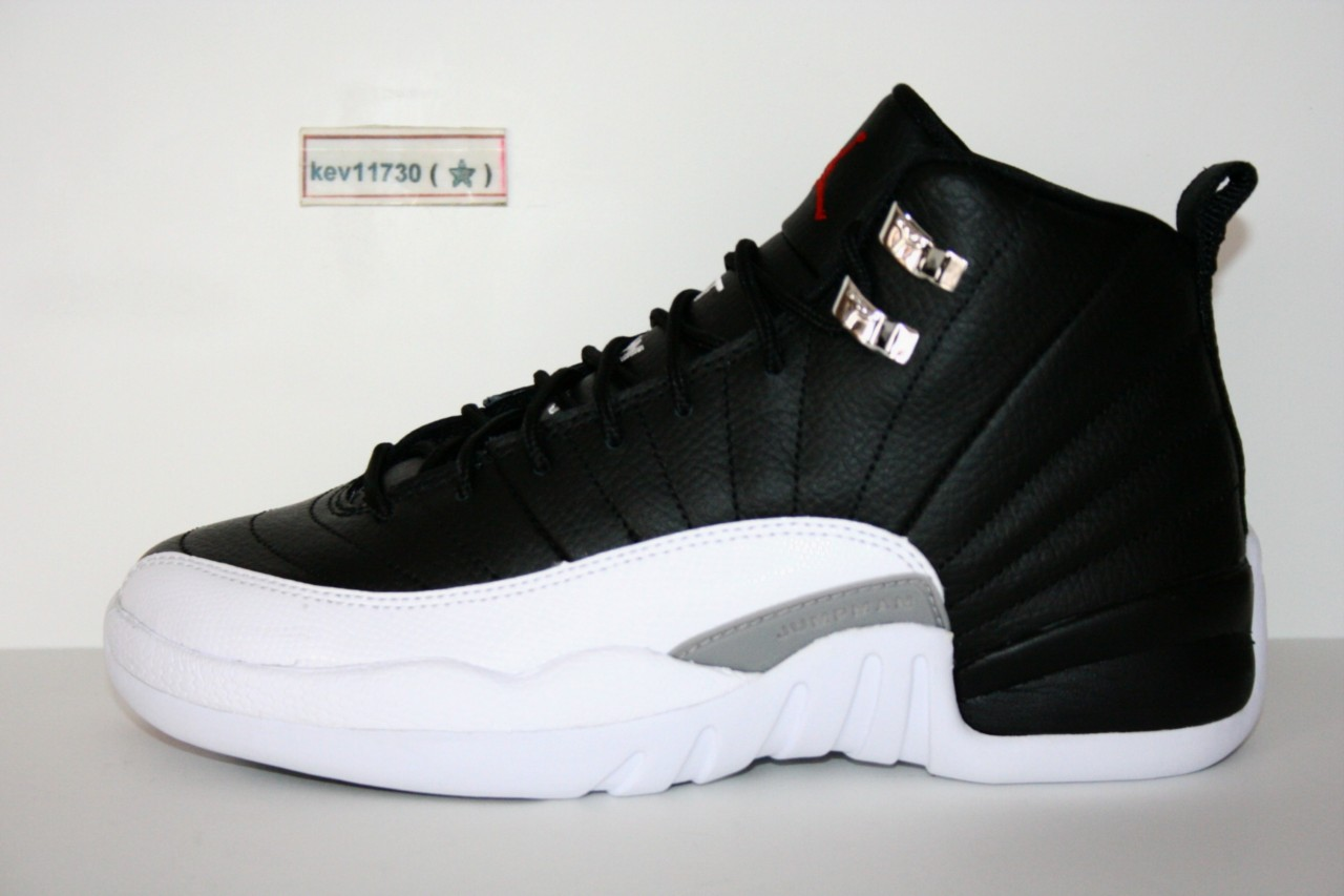 about AUTHENTIC Air Jordan Retro 12 Leather White Black Kids Youth szJordan 12 Black And White Kids