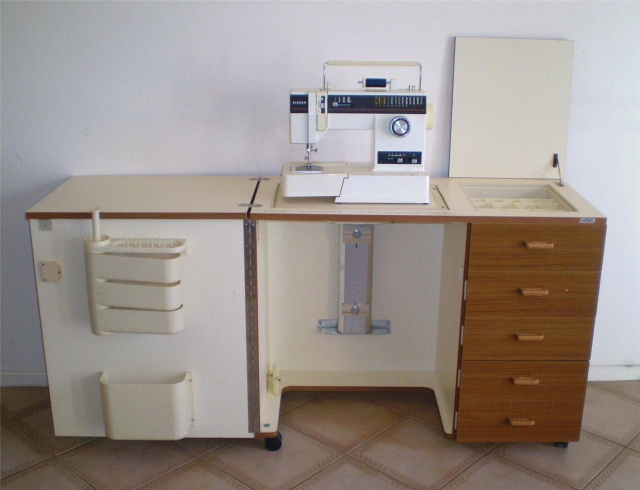 horn sewing machine cabinet c w hydraulic lift ebay