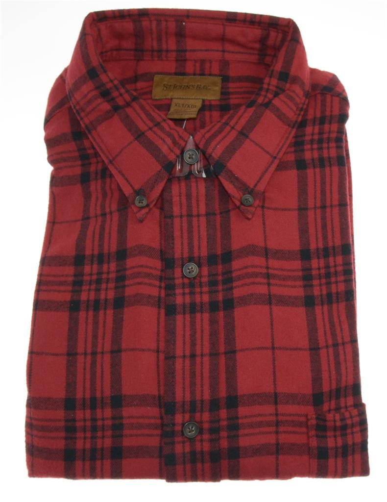 st johns bay mens flannel button front plaid work