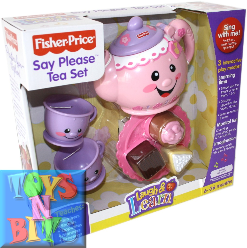 fisher price laugh learn musical say tea set cups pot cakes