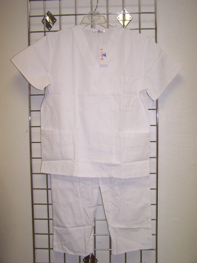NWT Nurses WHITE Medical Uniform Unisex V Neck SCRUB SET XS 3XL