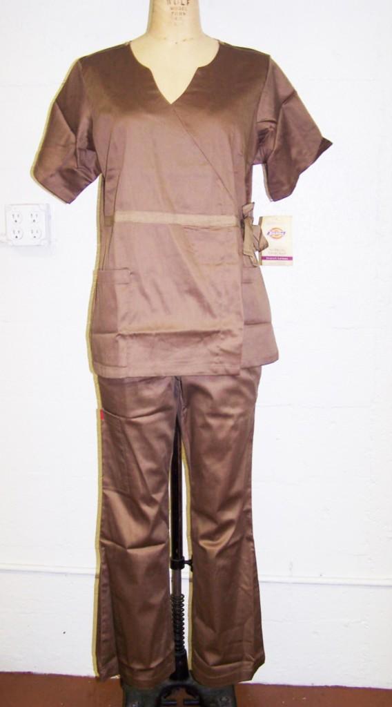 Dickies Medical Uniforms Stretch Sateen Brown Medium Fashion Scrub Set