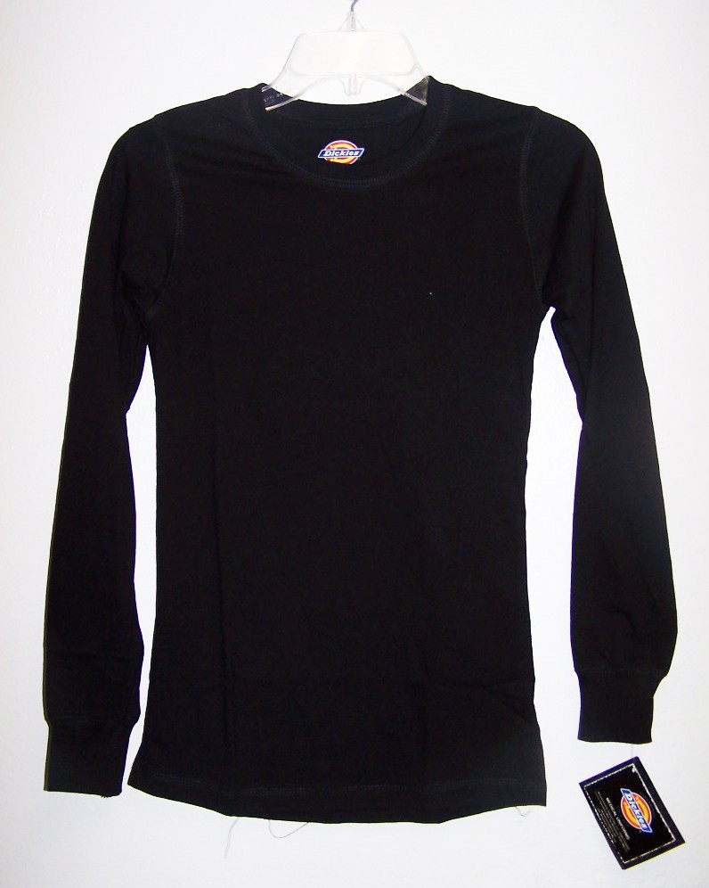 Dickies Medical Uniforms Long Sleeve 100 Cotton Black Undershirt XS