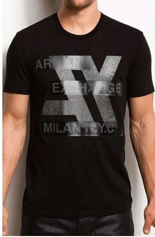 Armani exchange hi tech logo bar t shirt black ebay for Black armani t shirt