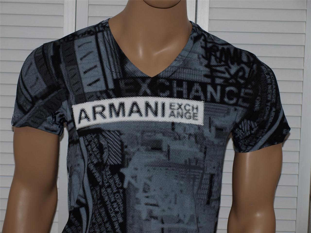 Black t shirt ebay - Image Is Loading Armani Exchange Allover City V Neck T Shirt