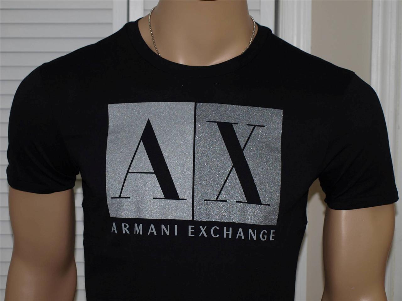 Armani exchange big block logo t shirt black nwt ebay for Black armani t shirt