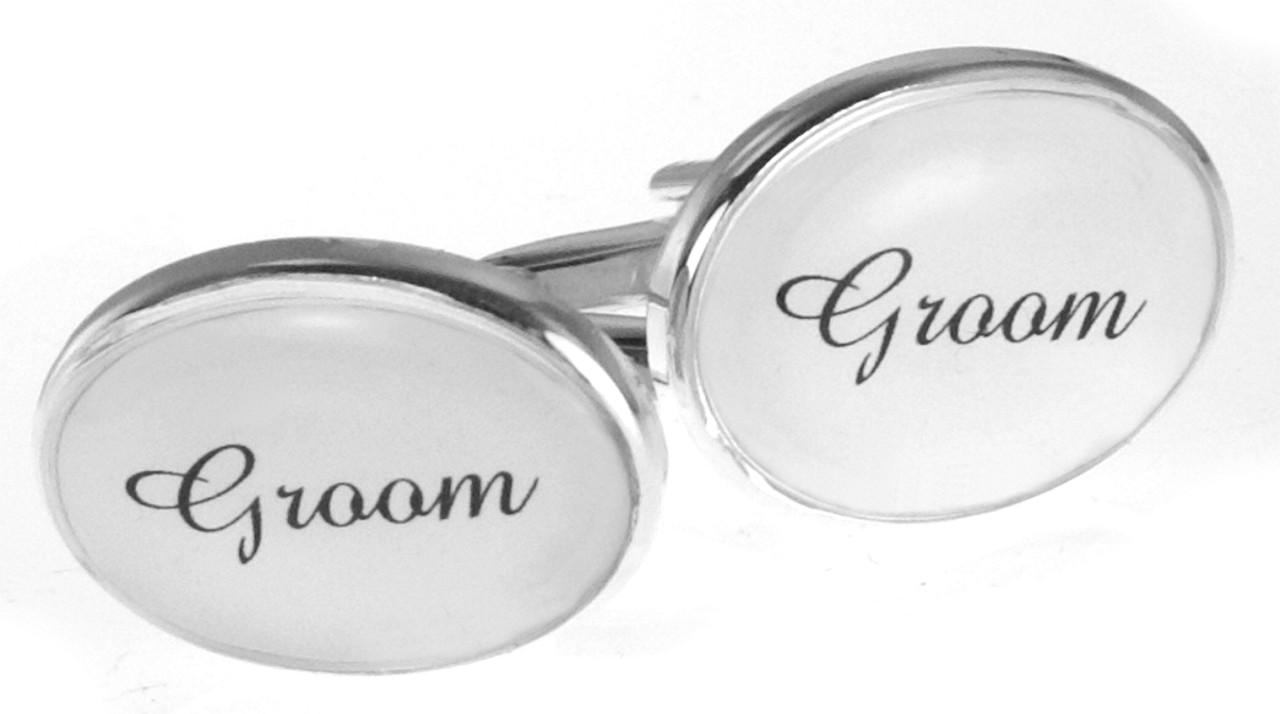 Mens Silver White Personalised Gift Oval Wedding Cufflinks Groom ...