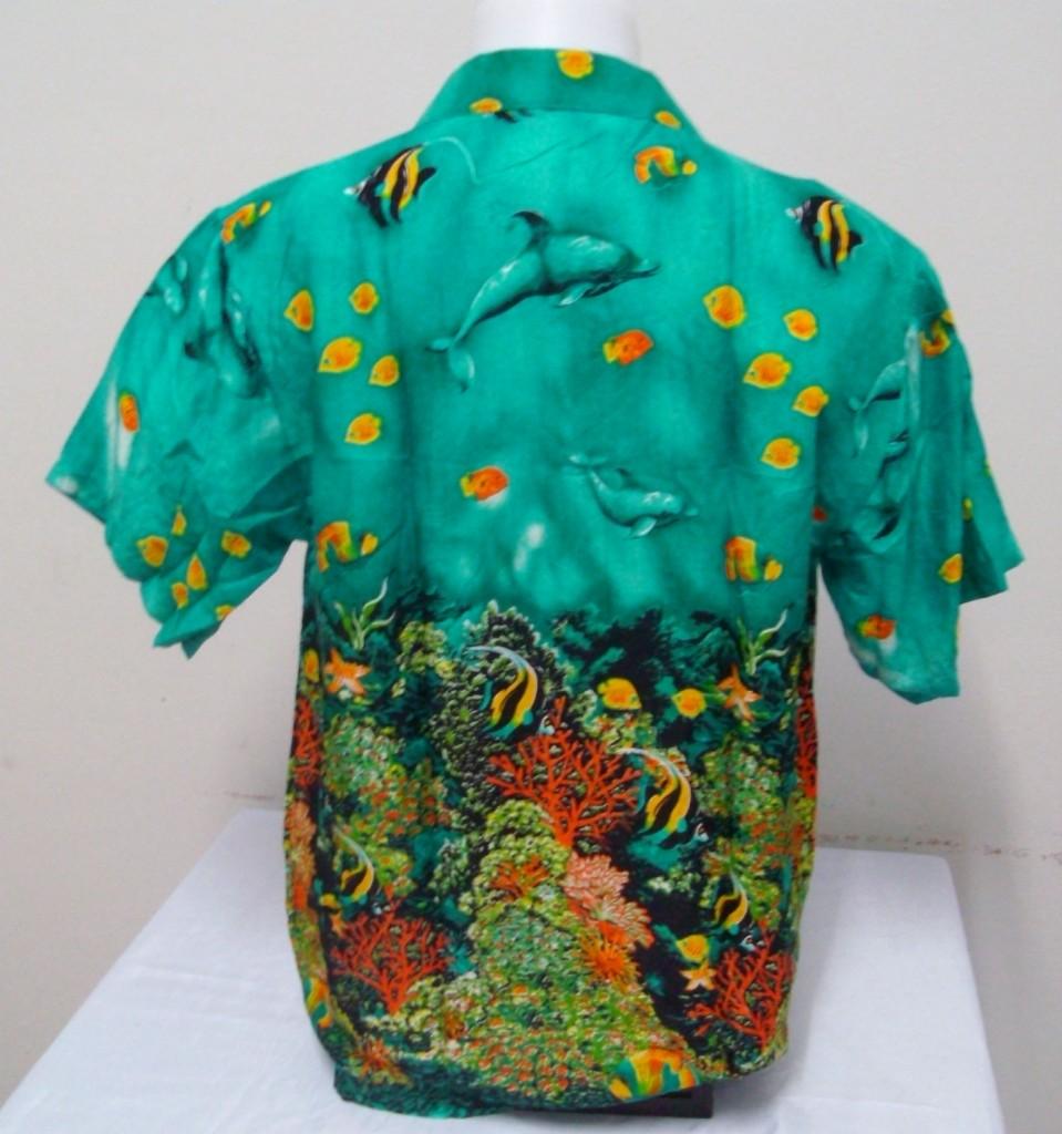 Mens hawaiian shirt hawaii bermuda coral theme angel fish for Fish hawaiian shirt