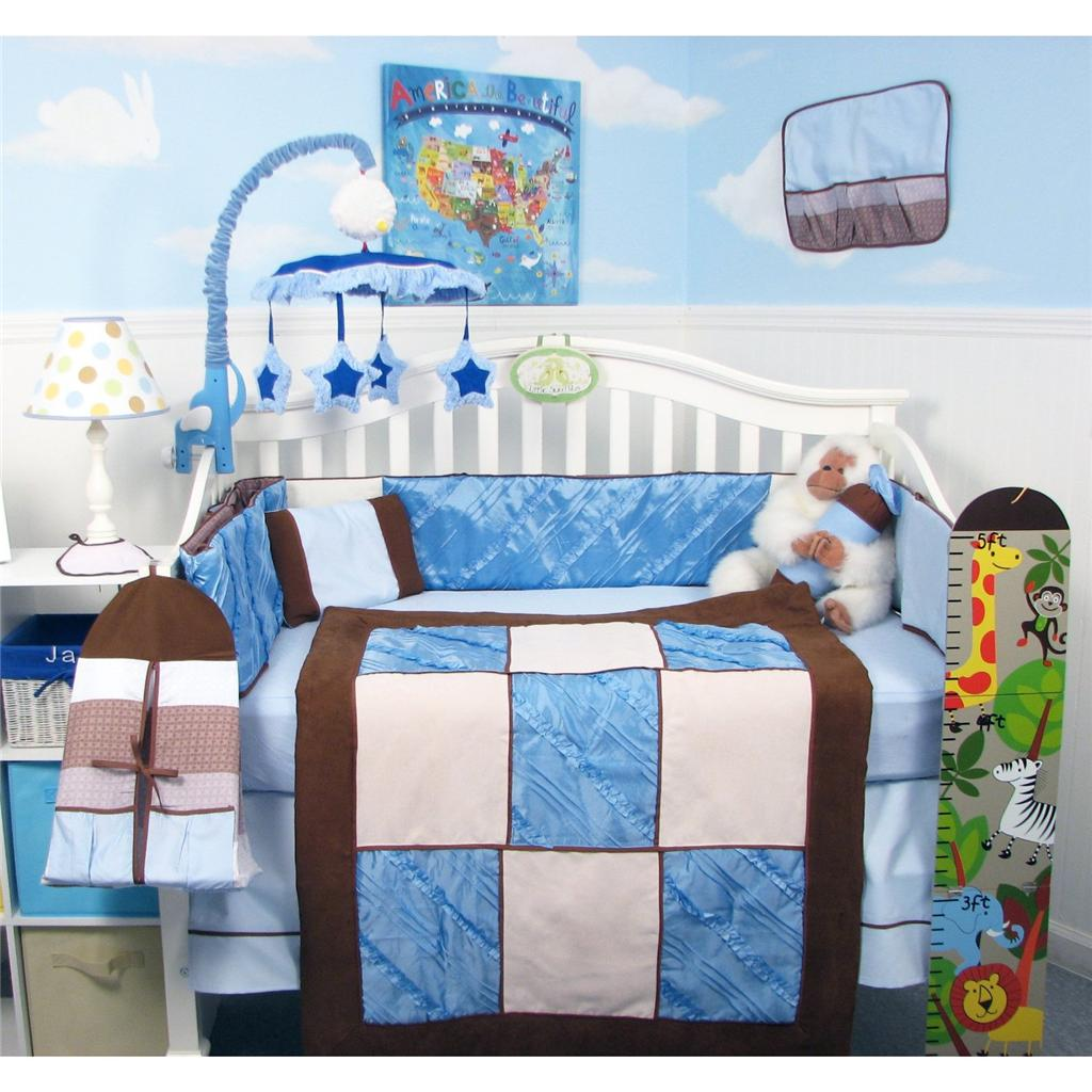 Soho Designs Blue Satin & Suede Baby Crib Nursery Bedding Set 14 pcs included Diaper Bag with Changing Pad, Accessory Case & Bottle Case at Sears.com