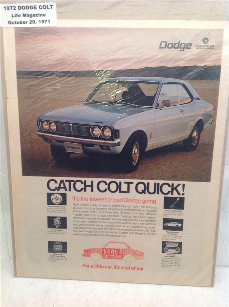 1972 dodge colt classic vintage automobile magazine advertisement d36 ebay. Black Bedroom Furniture Sets. Home Design Ideas