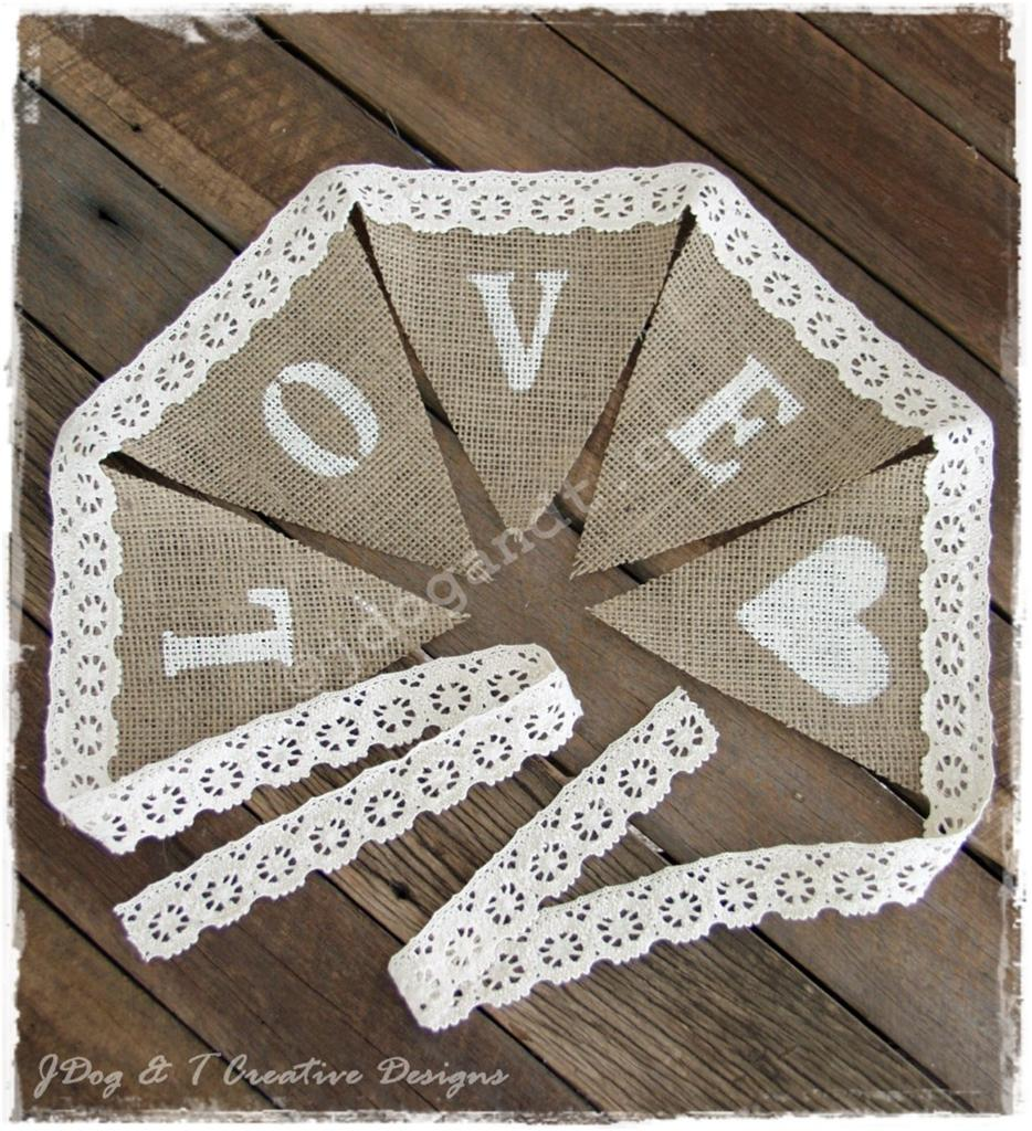 new burlap hessian crochet lace bunting love country vintage wedding decorations ebay. Black Bedroom Furniture Sets. Home Design Ideas