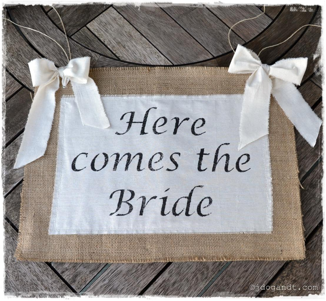 Here Comes The Bride Sign: SHABBY CHIC HERE COMES THE BRIDE WEDDING SIGN HESSIAN