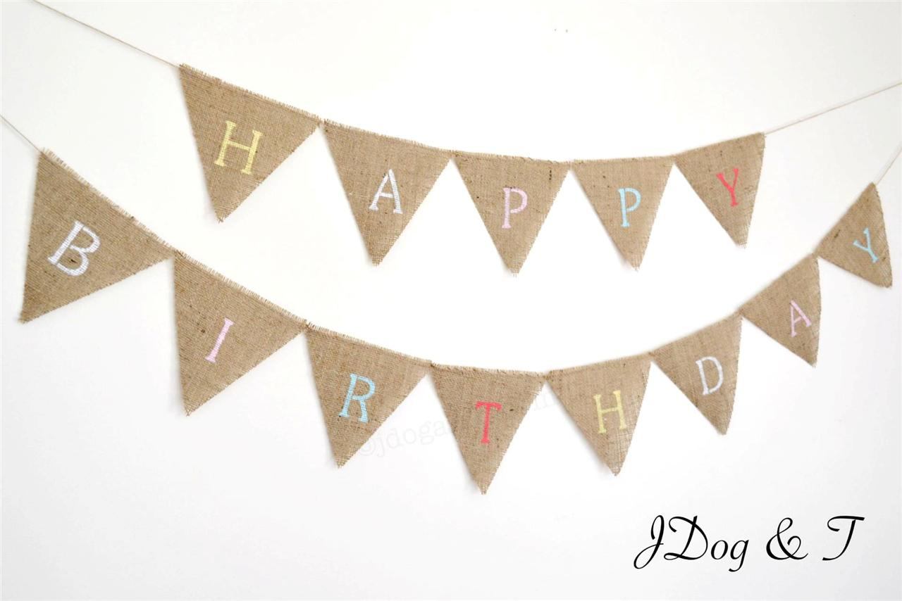 Image Is Loading New HESSIAN HAPPY BIRTHDAY BUNTING RUSTIC PARTY DECORATION