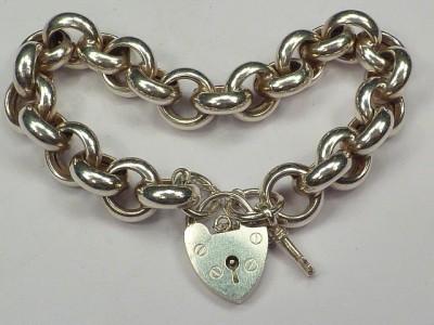 vintage sterling silver chunky chain charm bracelet