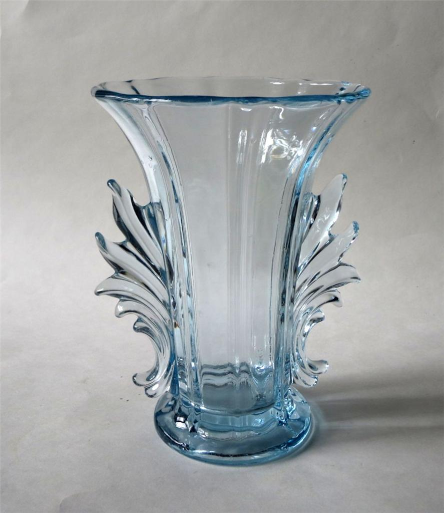 Fostoria glass baroque azure blue art deco 8in vase for Deco baroque