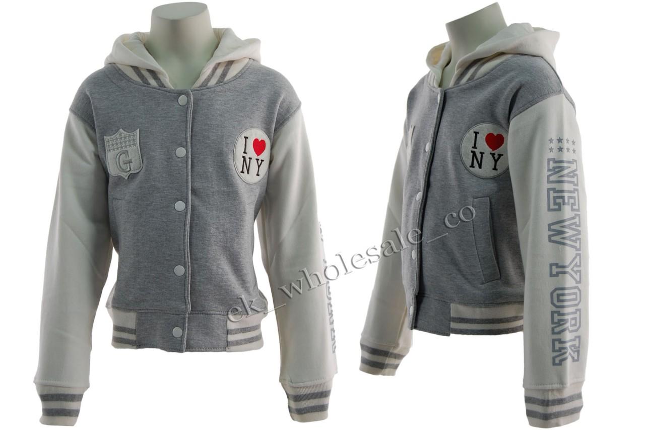 B40 Boys / Girls 'G' NY Baseball Sweatshirt Jacket Hoodie ...