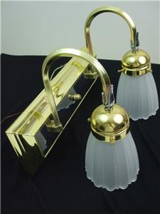Bathroom Vanity Wall Light Fixture Brass Silver Metal 2 Tulip Frosted Shades eBay