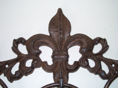Cast iron bronze fleur de lis 3 ring bath towel holder rack ebay - Fleur de lis towel bar ...