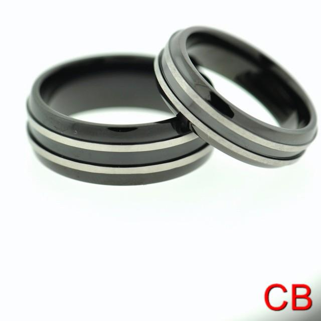 Black Titanium Matching Wedding Bands Promise Rings For Her and Him Sizes 5 1