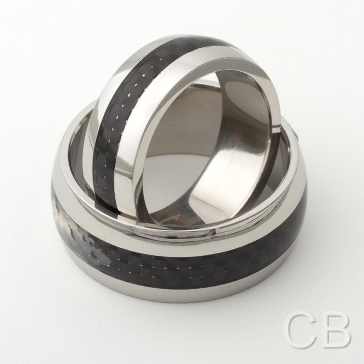matching his and hers promise ring set with black carbon