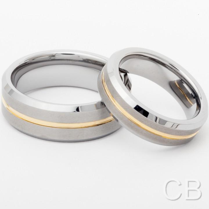 ... Tungsten Wedding Bands Promise Rings For Him and Her 14K Thin Line