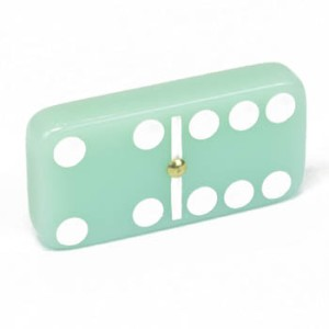 Dominoes Domino Double 6 Six Green Jade Stone Color Spinners Gold Gift