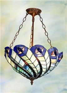 tiffany style stained glass peacock chandelier lamp light. Black Bedroom Furniture Sets. Home Design Ideas