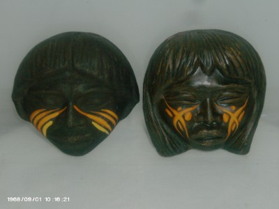 Pair-of-AWESOME-African-top-of-head-ceramic-wall-mounts