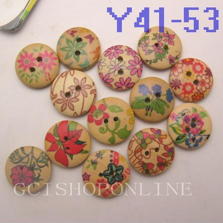 30-1000pcs MIX Pattern Wood Buttons 18mm Craft Sewing Y41-Y53  m 5