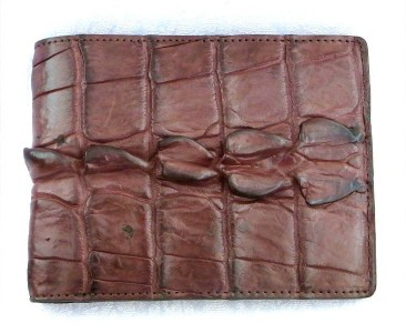 Genuine Crocodile Alligator Tail Skin Leather Mens Wallet