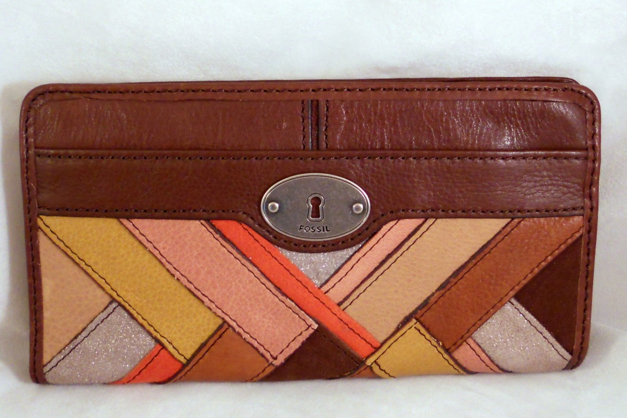 Fossil-Leather-Maddox-Light-Patchwork-Zip-Clutch-Wallet-Purse-NWT-SL3056195