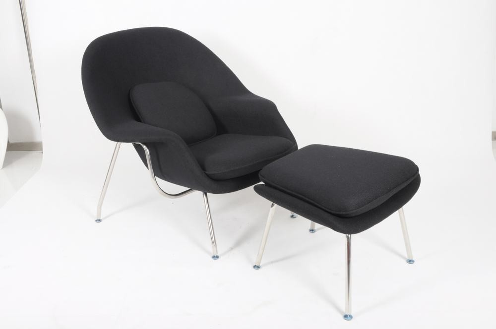 Replica saarinen womb chair and ottoman in black cashmere wool ebay - Saarinen womb chair reproduction ...