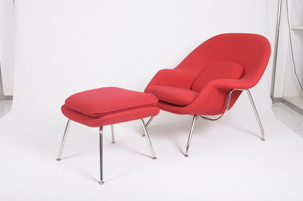 Replica saarinen womb chair and ottoman in red cashmere wool ebay - Saarinen womb chair reproduction ...