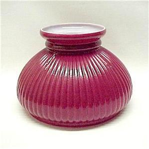 Red Ribbed Glass 7 Inch Student Kerosene Oil Lamp Shade Ebay