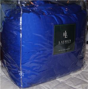 Ralph Lauren Cobalt Blue Sateen Queen Comforter New 1st