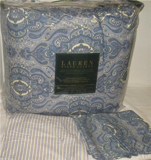 Ralph Lauren Colchester Blue Paisley Stripe Queen Or King