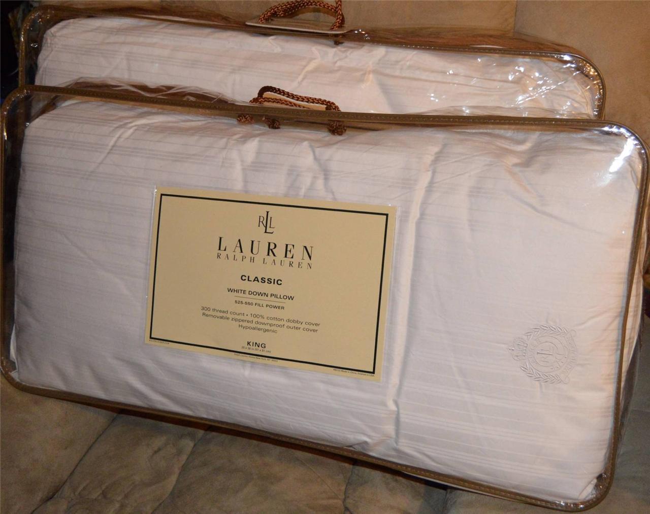 2 Ralph Lauren Classic White Goose Down King Pillows New