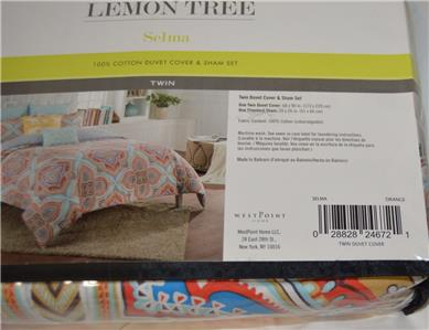 Lemon Tree 2 Piece Selma Duvet Cover Set 100/% Cotton TWIN