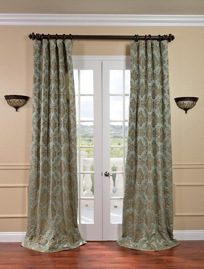 Amalfi Aqua Amp Bronze Faux Silk Jacquard Curtains Amp Drapes