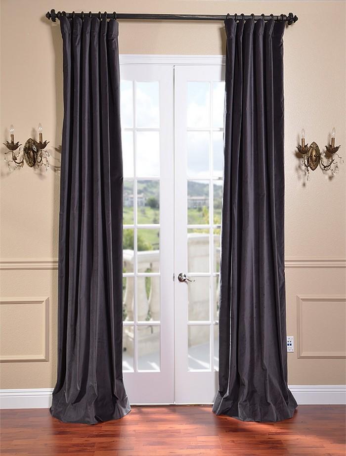 Iron Grey Vintage Cotton Velvet Curtains & Drapes   eBay - photo#22
